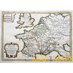 France old map Roman Empire in Gallia by Cellarius 1750