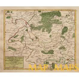 1748 Carte du Brabant antique map Belgium Hall Geneppe by Robert de VAUGONDY