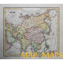Asia China India Japan Korea antique map Dufour 1830