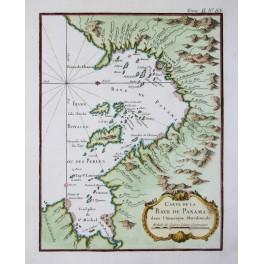 Bay de Panama Ville de Panama old map by Bellin 1752
