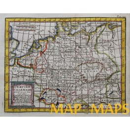 1714 antique map, Germany, Poland, Swiss by Buffier