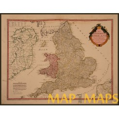 Kingdom England and Wales Early map UK. Von Reilly 1795