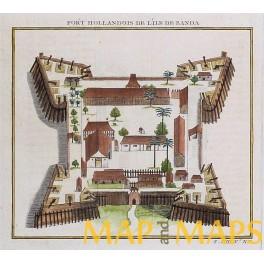 Fort Holland Banda Indonesia, Kepulauan Banda antique engraving by Bellin 1749