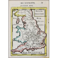 KINGDOM OF ENGLAND, ANTIQUE MAP, ROYAUME D'ANGLETERRE , MALLET 1683