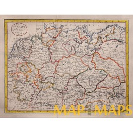 Germany States antique old map by J. Cary 1800