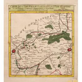 1748 antique map Belgium France VAUGONDY