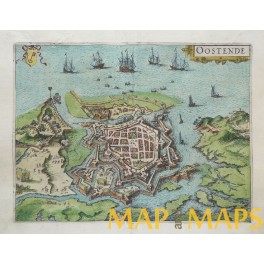 Oostende Belgium antique map cartographer Jacob v Deventer 1613