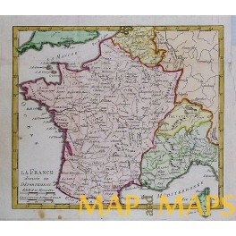 France Hand colored antique map by Vaugondy 1750