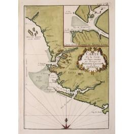 Sierra Leone River antique Africa map by Bellin 1747