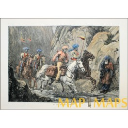 Riders of Afghanistan - Old Print – Hand colored -1879