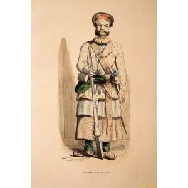 Turkish Ottoman Officer Fine antique print by Berghaus 1845