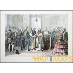 Traditional Russian Wedding Old Print 1879