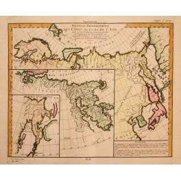 Russia/ Kamchatka/Japan/Korea old map Vaugondy 1772