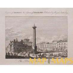 The Pillar of Antoine at Rome, Italy, Old antique print Bankes 1780