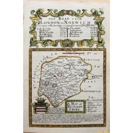 RUTLAND ANTIQUE ROAD MAP RUTLAND SHIRE COLORED BY BOWEN/OWEN 1761