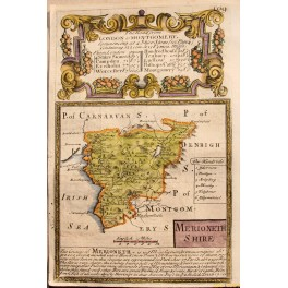MERIONETHSHIRE WELSH ANTIQUE ROAD MAP COLORED BY BOWEN/OWEN 1761