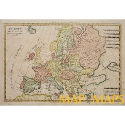 Antique map of Europe, Old copper plate map by Rigobert Bonne 1787