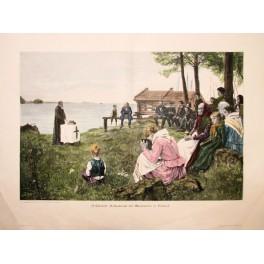 Albert Edelfelt Finland attendance colored print 1890
