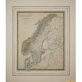 Sweden, Norway, Denmark, antique map by Walker 1853