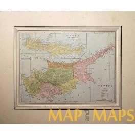Cyprus map, Crete map, antique atlas map c. 1900