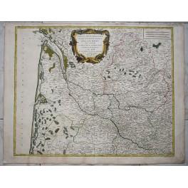 Aquitaine Bordeaux France Basque Atlas map Vaugondy1753
