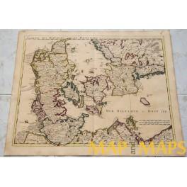 Denmark Danemarc old map Covens Mortier 1742