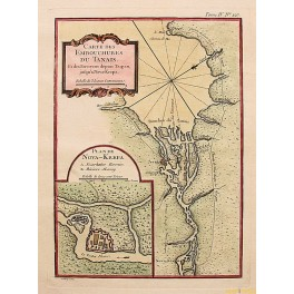 1764 Tanais map, Don River delta, Russia map by Bellin