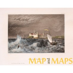 Kronborg Castle Helsingor,Denmark, old print Meijers 1850