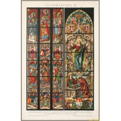 Dom cathedral Cologne, stained windows old print, Brockhaus encyclopedia 1892