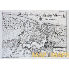 France Old battle plan Ville De Dunkerque by Bourbon 1766