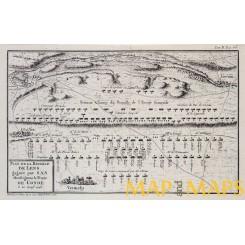 The Battle of Lens France Antique engraving 1768 PLAN DE LA BATAILLE DE LENS