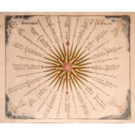 Compass Rose Cardinal points original engraving 1740