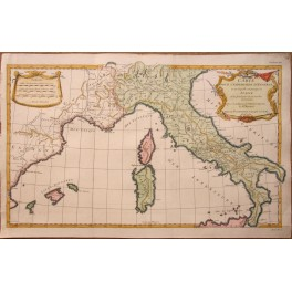 Italy Sardinia Corsica antique map by D'ANVILLE 1739