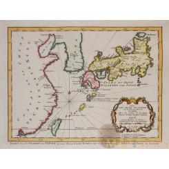 Carte des isles du Japon Old map Japan by Bellin 1773