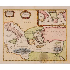 Mediterranean Sea Old Map Aeneae Troiani Jansson 1653
