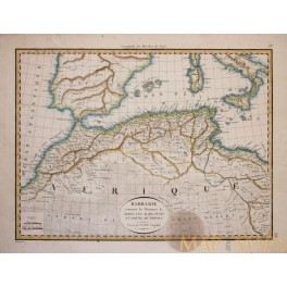North Africa Morocco Algeria Barbary, antique engraved map by Lapie 1816