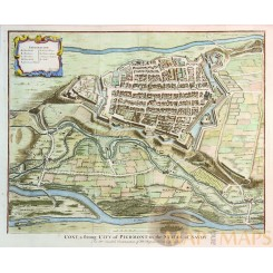 Cony, a strong City old map Cuneo Italy. Austrian war 1743.