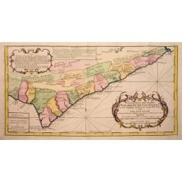 Gold Cost of Guinea Africa Kingdoms original map Bellin 1773