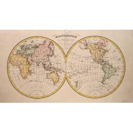 Word atlas map MAPPEMONDE old antique map Dufour c 1800