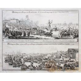 Kingdoms-British Navy-Portsmouth Hampton-London old engraving Merian 1662