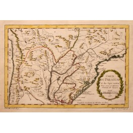 Rio Janeiro Paraguay Argentina antique map Bellin 1760