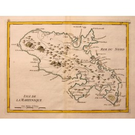 Caribbean Martinique Islands old map Le Rouge 1756