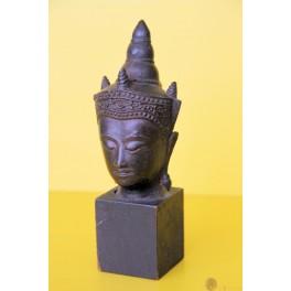 Antiques Chinees Guanshiyin Buddha Head Bronze Asian Art 19th Century