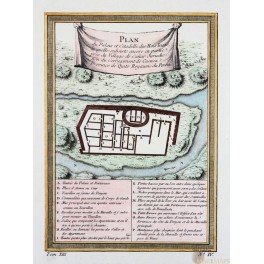 Kings Palace and Citadel Incas Peru map by Bellin 1756