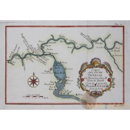 Senegal Mauritania Africa River System Antique map by Bellin 1760