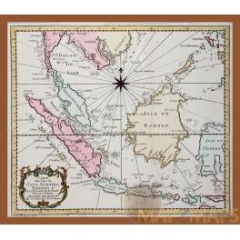 Indonesia Islands original antique map by Bellin 1758