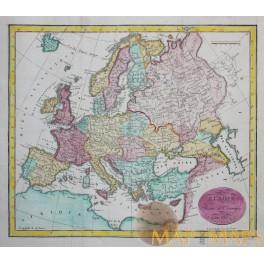 Carte D'Europe 1817 antique map Ottoman Europe Vosgien 1817