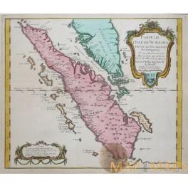 Sumatera Sumatra Sunda Islands Indonesia old antique print by Bellin 1753.
