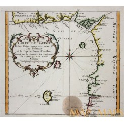 Kingdoms in the Gulf of Guinea, Africa, Original engraved map by Bellin 1748