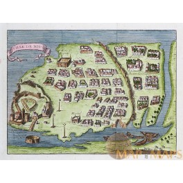 Fortress Diu India Portuguese India antique map by Bellin 1749